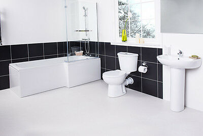 NEW Shower Bath Bathroom Suite with L Shaped 1700 Right Hand Bath