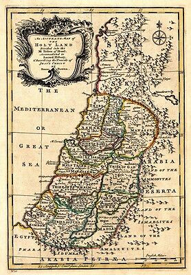 MP55 Vintage 1767 Historical Antique Map Of The Holy Land Isreal Poster A1/A2/A3
