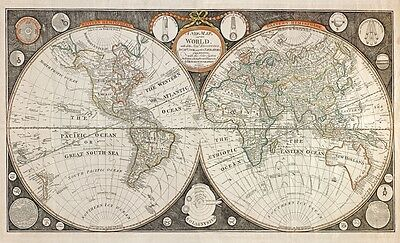 MP58 Vintage 1826 Historical Antique Old Map Of World Capt Cook Poster A1/A2/A3