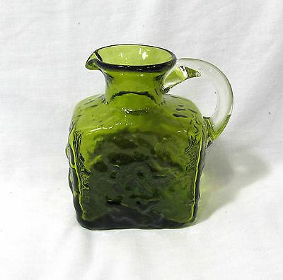 Pilgrim Miniature Textured Green Blown Glass Square Pitcher With Clear Handle