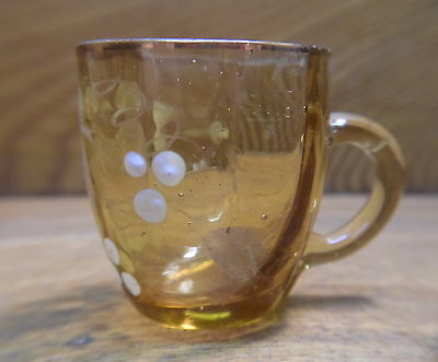 Antique Small Toy / Child's Amber Glass Cup - Rough Around The Top - 1 1/2""