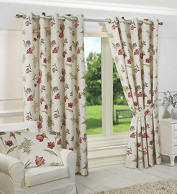 Shabby Chic Floral Fully Lined Ring Top Eyelet Madeline Curtains 4 Sizes