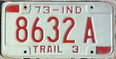 Indiana 1973 3,000lb TRAILER license plate!