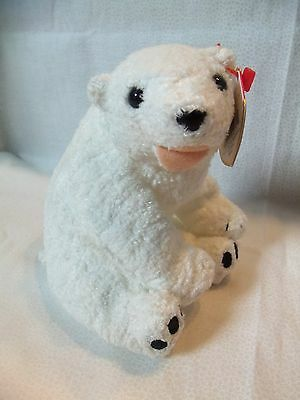 "TY Beanie Babies 6"" (sitting) Polar Bear ** AURORA **  6th Gen New w/ Tag"