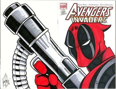 Avengers Invaders #1 Df Dynamic Forces Signed Remarked Deadpool Color Sketch Coa