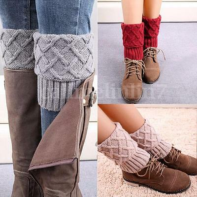 Winter Warm Ladies Knit Crochet Knee Slouch Socks Rhombus Leg Toppers Cuffs Boot