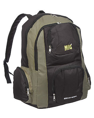 Mens Large Zipped Backpack Rucksack Bag for HIKING SCHOOL WORK SPORTS KHAKI 220