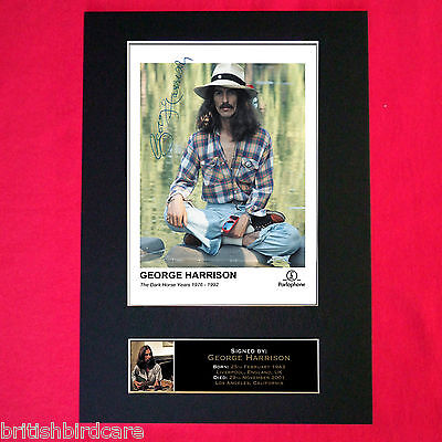 GEORGE HARRISON The Beatles Signed Autograph Mounted Photo RE-PRINT A4 172
