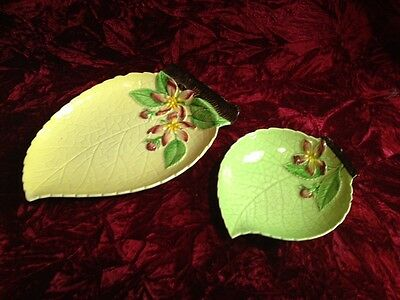 2 Vintage Carlton Ware Small Medium Leaf Dish Tray Plate Apple Blossom