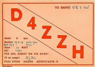 Old QSL radio card D4ZZH Germany