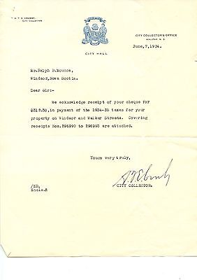 Old Letterhead Halifax City Hall 1934 Collectors Office