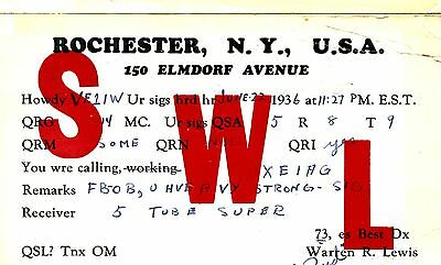Old  1930's QSL radio card SWL Rochester NY USA Warren R Lewis