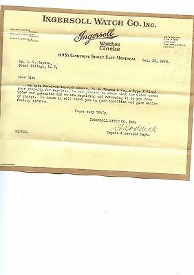 Old letterhead Ingersol Watch Co. Inc. Montreal Quebec 1926