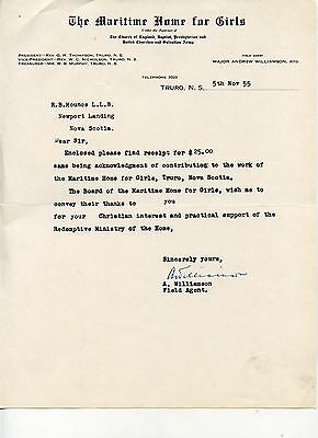 Old letterhead THE MARITIME HOME FOR GIRLS Truro NS 1955