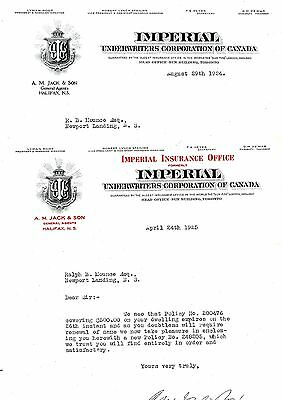 Old letterhead letter head Imperial Underwriters corp of Canada (2 of)