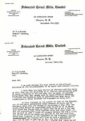 Old letterhead letter head FEDERATED CEREAL MILLS LIMITED Halifax NS 1933