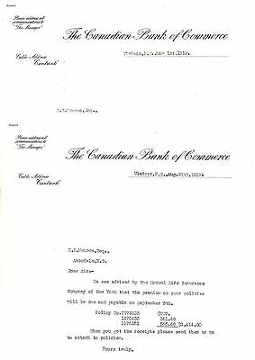 2 Old letterhead letter head THe Canadian Bank of Commerce Windsor NS 1919