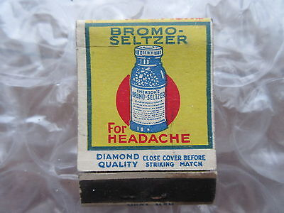 Old Vintage Diamond Quality Matchbook Cover Bromo Seltzer
