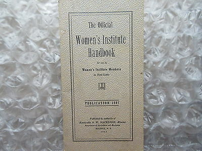 Old 1953 Official Women's Institute Handbook Nova Scotia
