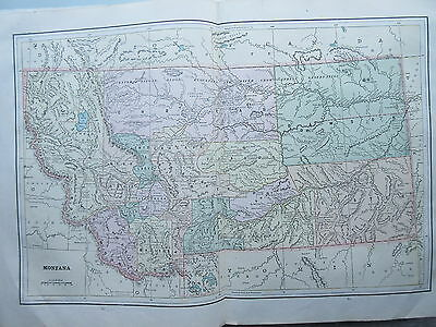 Antique Color Map from Geo.F.Cram Atlas Wyoming Montana Yellowstone