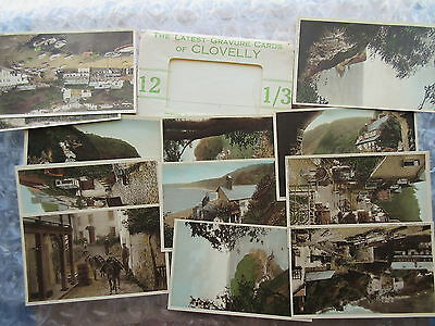 Set of 12 Old Postcards Latest Gravure Cards of Clovelly