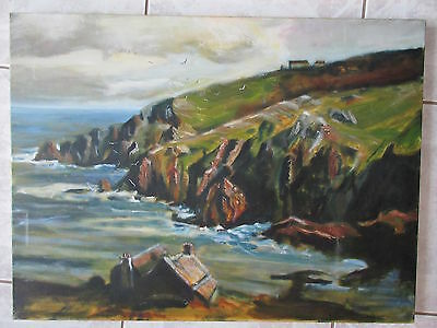 Oil Painting on Canvas Houses Hills By Seashore Not Old