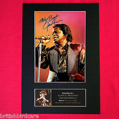 JAMES BROWN Signed Autograph Mounted Photo Reproduction PRINT A4 157
