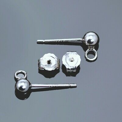 Solid 925 Sterling Silver Ball Earring Posts and Backs Jewellery Making Findings