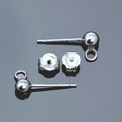 Solid 925 Sterling Silver Ball Earring Stud Posts with Backs Jewellery Findings