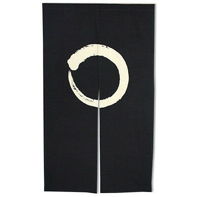 "Japanese Noren 59""L ENSOH Blk Circle 2-Panel Curtain DoorwayTapestry/Made Japan"