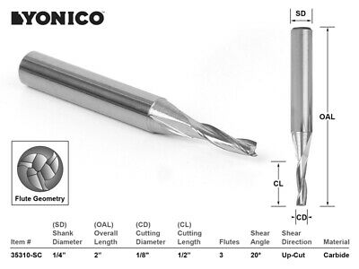 "1/8"" Dia. Low Helix Upcut End Mill CNC Router Bit - 1/4"" Shank - Yonico 35310-SC"
