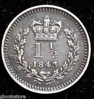 Scarce 1843 Over 34 Victoria Threehalfpence Higher Grade Toned Spink 3915