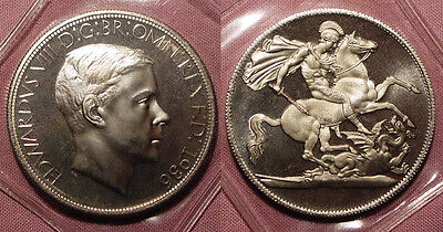 1936 KING EDWARD VIII PATTERN CROWN - Low Mintage - Platinum Coloured Alloy