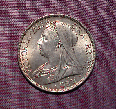 1895 QUEEN VICTORIA VEILED HEAD HALFCROWN - aUNC