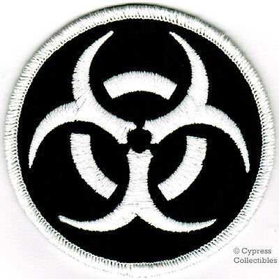 BIOHAZARD SYMBOL embroidered iron-on PATCH WHITE BLACK applique WARNING SIGN new