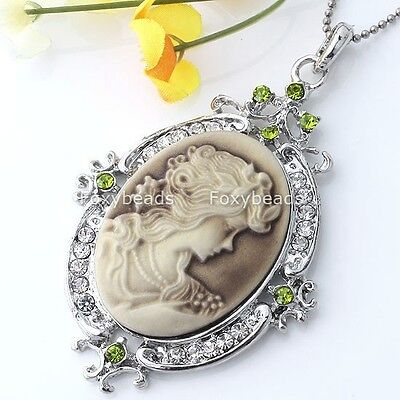 Crystal Vintage Silver Cameo Lady Charm Pendant For Necklace Chain Jewelry