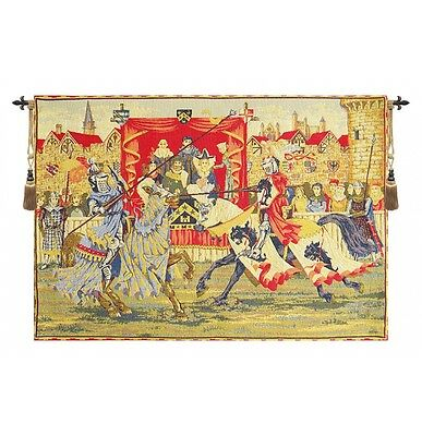 """BELGIAN TAPESTRY Medieval Lists Tournament Knight Rider 37""""x54"""""""