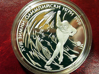 1996 Bulgaria Large Proof Silver 1000 Leva Olympic Skater
