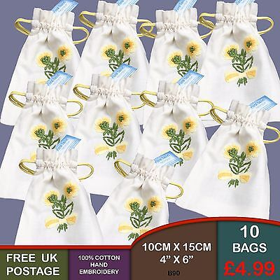 Pack of 10 Yellow Hand Embroidered Helichrysum Cotton Pot Pourri Bags B90