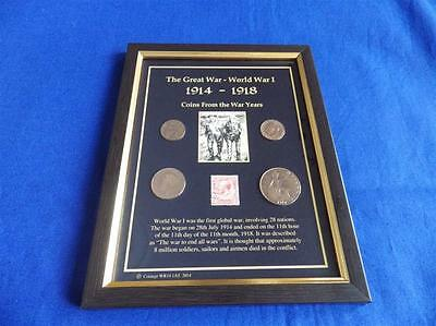 The Great War Wwi 14-18 Coins From The War Years In A Frame ( With A Penny Red )