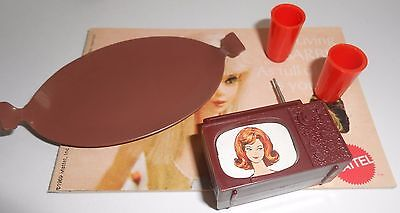 3 pieces! vintage Barbie BROWN TV W/ ANTENNA brown tray LIVING BARBIE BOOKLET