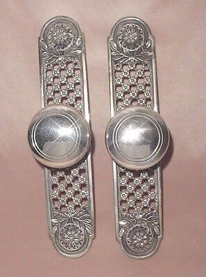 Old Pair Plated Bronze Brass Door Pull Pompom Handles Pierced Open Work Plates