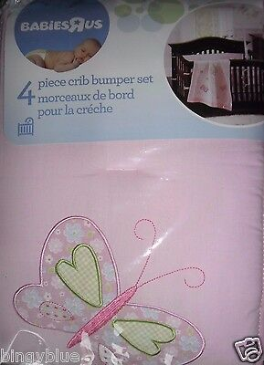 Babies R Us Olivia Collection Pink Girl Baby Nursery Crib Bumper Pad Butterflies