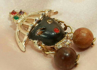 Beautiful Vintage 50's Rhinestone Enamel Black Amoor Brooch Pin 210J6