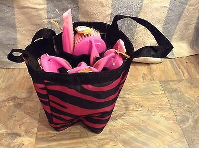 Pink zebra horse grooming caddy/tote w/6 piece palm grip grooming kit