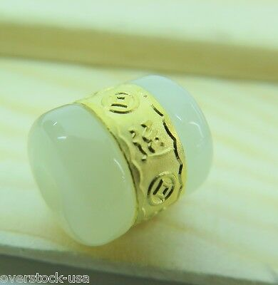 CERTIFIED 24K Gold Lucky Tube Natural Hetian Jade Oblong Pendant (Nephrite)