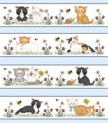 Cat Wallpaper Border Decals Girl Farm Nursery Kitty Kitten Wall Art Stickers
