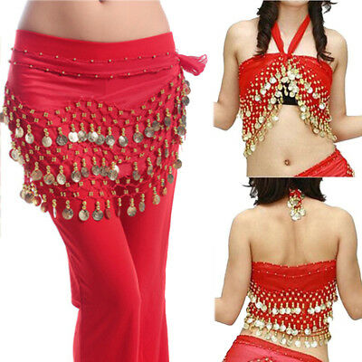 Red 3 Rows Belly Dance Hip Skirt Scarf Wrap Belt Hipscarf with Gold Coins US