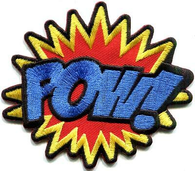 POW! superhero comics retro fun embroidered applique iron-on patch S-1191
