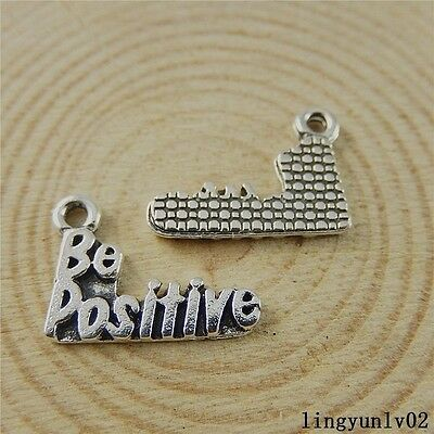 "Antique Silver Alloy Engraved ""Be Positive"" Charms Pendants Findings 30x 50831"